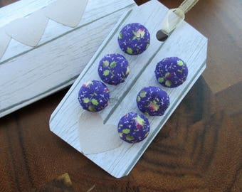 Vintage Laura Ashley fabric - purple hand covered buttons - set of six 15mm