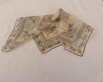 Vintage Handkerchief - Black Trim