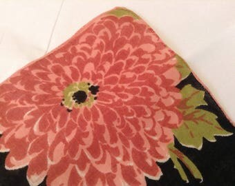 Vintage Handkerchief / Zinnias Black Background