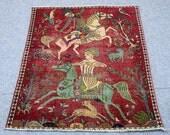Shiraz handmade persian rug, animal motif, horse motif, burgundy red, rose red, blue, black, brown floral design pattern. Size  3.5′ X 4.8′