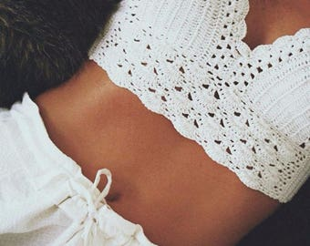 White Crochet Bralette // Cute Summer Crop Top // Amazing Quality