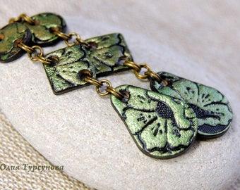 """Leather earrings """"Green flowers"""""""