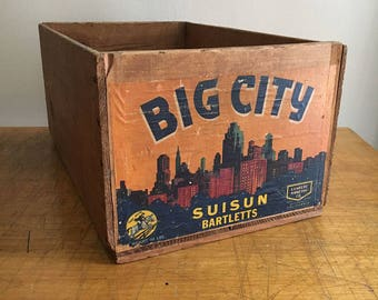original 1960'S Fruit Crate Label BIG CITY Brand BARLETTS original