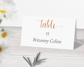rose gold wedding place card template download printable place cards escort cards rose