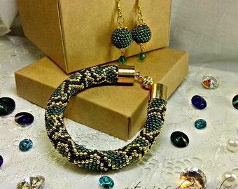 Snake necklace Green Snake necklace Necklace animal print beaded necklace beadwork Bead crochet rope necklace Snake Animal print