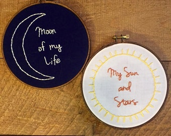 Moon of My Life, My Sun and Stars Game of Thrones Embroidery Hoop, Daenerys and Khal Drogo Art, Anniversary Gift, Wall Art