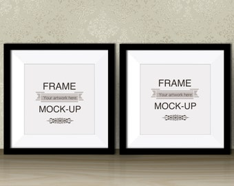 two black frames square digital frame artwork mockup double poster mockup art print stock photo 10 x 10 12 x 12 instant download