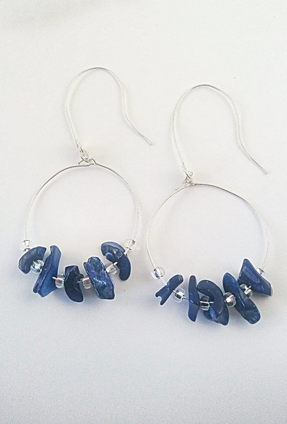 Chip bead hoops, Hoop Earrings, large silver hoops, silver hoop earrings, extra large, dangle hoop,  dangle hoop earring,mothers day gift