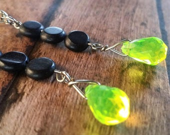 Neon Yellow and dark gray dangle earrings {#60}
