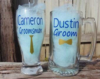 Grooms glass, groomsman glass, pilsner glass, beer mug, wedding glass, his glass, bachelor party, groomsman gift
