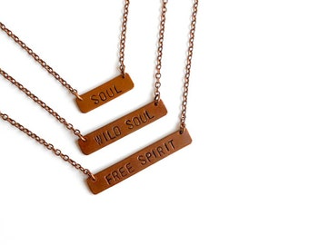 SALE - Stamped Copper Statement Necklace