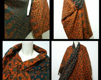 Real wool scarf/himalayan made GREEN  COLOUR paisley print/floral print ethnic  DOUBLE sided scarf /shawl/wrap/blanket,High quality 100%wool