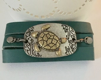 Turtle Green leather wrap pendant connector bracelet