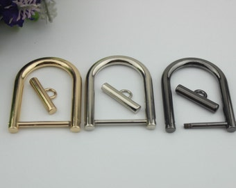 6pcs 50mm x 38mm gold D rings with screw clasp round split Heavy gate ring women bag handbag Purse findings Accessories