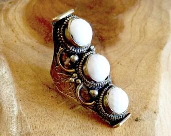 Tibetan Hand engraved 3 white Magnasite Stone Chakra Ring, Saddle Ring, Adjustable Ring, Gypsy Bohemian Expression Jewelry