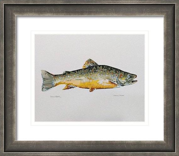 """BROOK TROUT - Original 11"""" x 14"""" Impressionistic Oil Painting on Paper"""