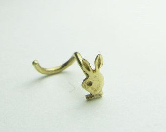 14kt solid gold nose twist bunny 20g