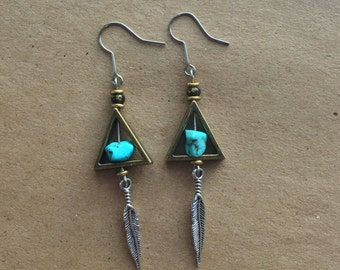 The all-seeing sk(eye) earrings w/ feathers