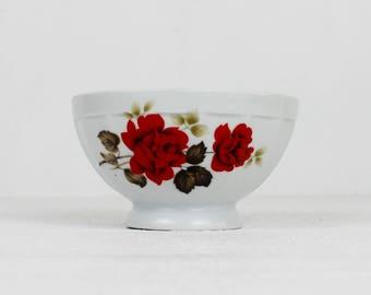 Red Roses Vintage Limoges Bowl Limoges France Cafe Au Lait Bowl Ceramic Bowl
