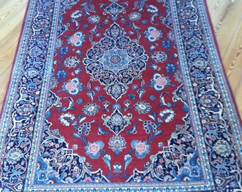 Very old persian rug kashan 6.8 × 4.4 ft 203 x 133 cm