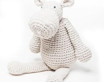 Amigurumi Hippo Pippa/ Crochet Stuffed Animal Amigurumi Toy / Crochet Toy / cream white