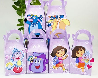 Dora favor box, Dora birthday party supplies, Dora favor bag, Dora theme party favor boxes, Dora goody box