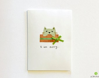 I am Sorry, handmade card, sorry card, apology card, kitty in a box