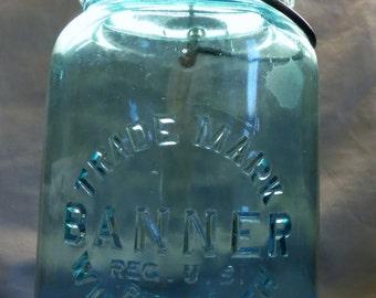 Vintage Aqua Blue Banner Wide Mouth, Wire Side Mason Jar