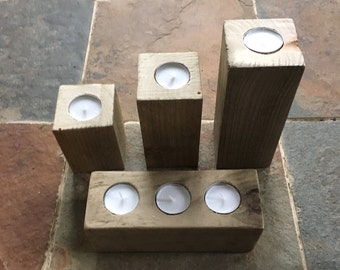 Wooden candle holder set, wood tealight holder, block candle holder, tealight centerpiece, reclaimed timber, pallet tealight holder