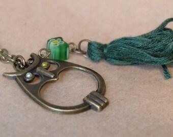 Five different colors! Owl pendant chain necklace, bronze owl charm necklace, owl tassel necklace
