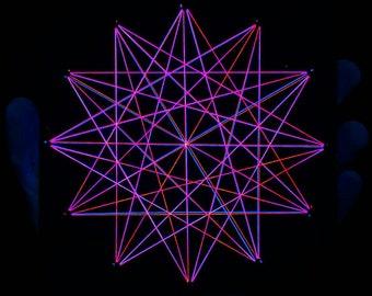 Mandala, sacred geometry, psychedelic art, fluorescent decor