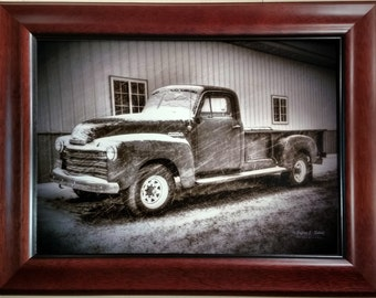 Snowstorm Chevy 2 - Vintage Truck - 12x16 Canvas with Frame