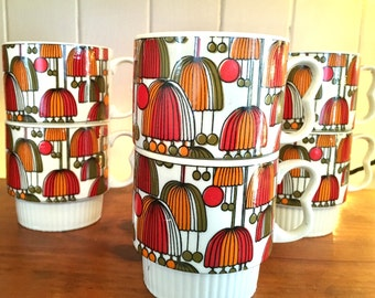 Vintage Stackable Japan Mugs / Cups Set of 6 Cute Retro colorful design