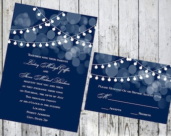 String Lights Wedding Invitation with Respond Card