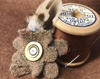 Handmade Tweed Flower Brooch with Feather and Shotgun Cartridge Detail