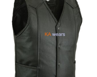 Handmade Leather Waistcoat Real Biker Cowhide Plaited Edging Button Close Motorcycle Vest