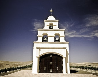 Spanish Mission Church and Vineyards, Paso Robles, California