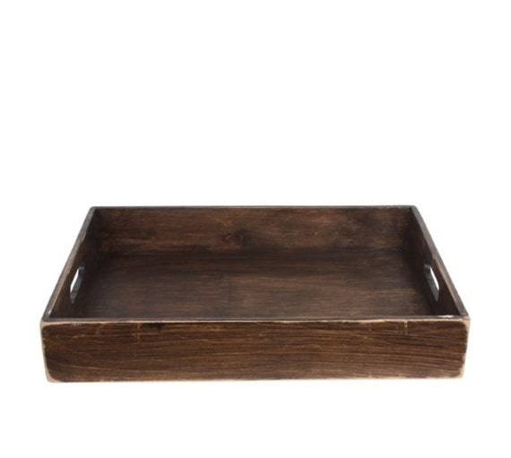 Wood tray rustic serving ottoman