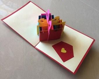 Heart Present Pop Up Card, Pop-Up Card, 3D Card, Birthday Pop Up Card, Birthday Card