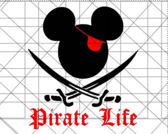 Mickey Pirate SVG - Disney Pirate  SVG - Pirate Life - SVG File - Silhouette Studio File