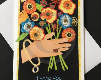 Thank You Card- Hand with Flowers