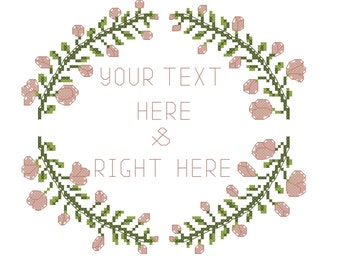 PDF Floral wreath cross stitch pattern