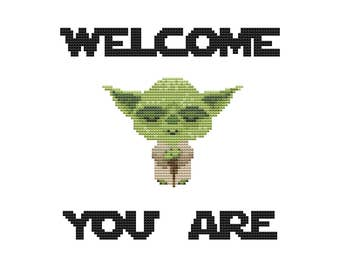 PDF cross stitch pattern, modern cross stitch, master yoda cross stitch, star wars embroidery, star wars pattern, yoda diy embroidery
