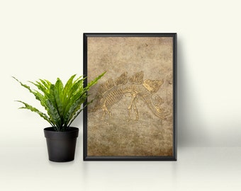 Dinosaur Fossil Print Image Graphic Design Dusty