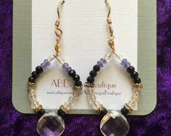 Beaded Quartz Drop Earrings