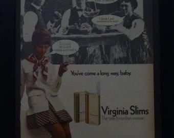 Virginia Slims Ad, You've Come a Long Way Baby, Vintage, 1960, Retro Magazine Ad, Wall Art