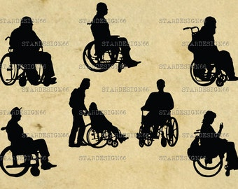 Digital SVG PNG JPG Disabled People, wheelchair, men, women, silhouette, clipart, vector, instant download