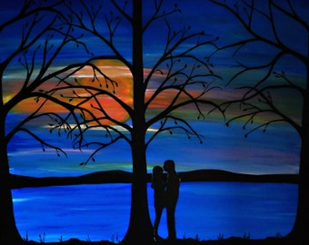 "Romantic painting, ""Forever Always"" silhouettes, love, couple embracing, couple kissing, 24x30 large painting, home decor, Valentine's Day"