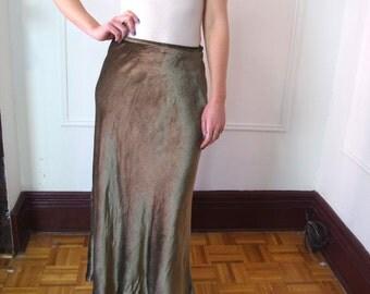 CALVIN KLEIN olive long velvet skirt Sz M