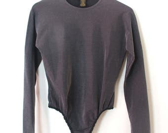 DONNA KARAN dkny silver sparkly bodysuit leotard 90's